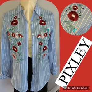 Pixley Floral Embroidered Button Down